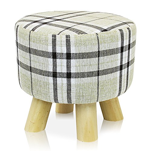 Tri Leg Stand - DL furniture - Round Ottoman Foot Stool, Tri Leg Stands Round Shape | Linen Fabric, Stripped Cover