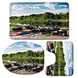 3 Piece Bath Mat Rug Set,Hunting-Decor,Bathroom Non-Slip Floor Mat,Fishing-Tackle-on-a-Pontoon-Lake-in-the-Woods-Trees-Greenery-Freshwater-Hobby-Decorative,Pedestal Rug + Lid Toilet Cover + Bath Mat,M