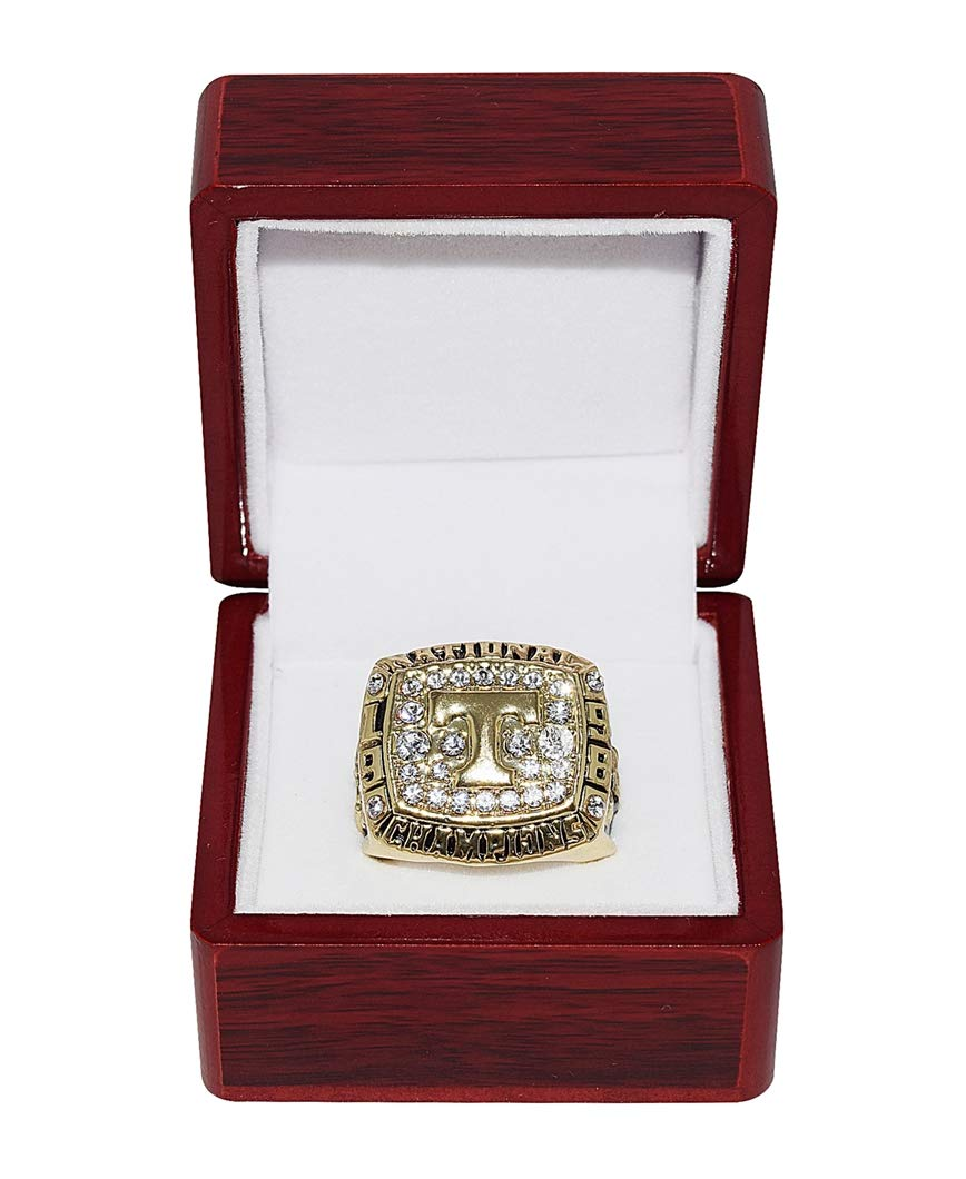 UNIVERSITY OF TENNESSEE (Volunteers) 1998 BCS NATIONAL CHAMPIONS Vintage Collectible High-Quality Replica NCAA Football Gold Championship Ring with Cherrywood Display Box Trackside Autographs