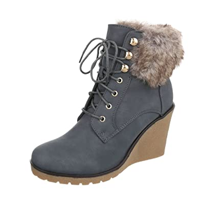 Ital-Design Keilstiefeletten Damen-Schuhe Plateau Keilabsatz Wedge  Keilabsatz Schnürsenkel Stiefeletten Grau, ac882d2bcd