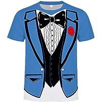 Sylar Camisetas de Manga Corta para Hombre Moda Pajarita 3D Estampado Cuello Redondo Camisetas Slim Fit T-Shirt Basicas…