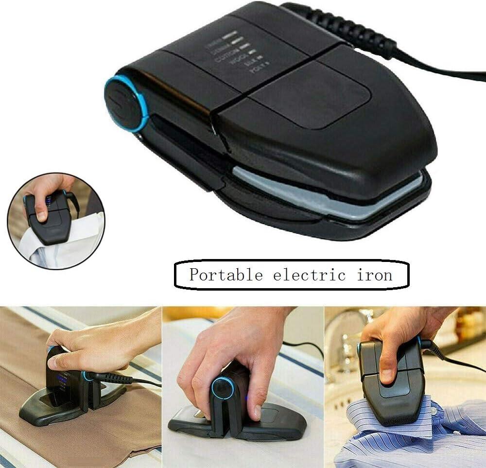 Plegadora de cuello mini portátil plegable, plancha de viaje mini y plancha de viaje con asa antideslizante y plancha de hierro antiadherente con suela (EU Plug)