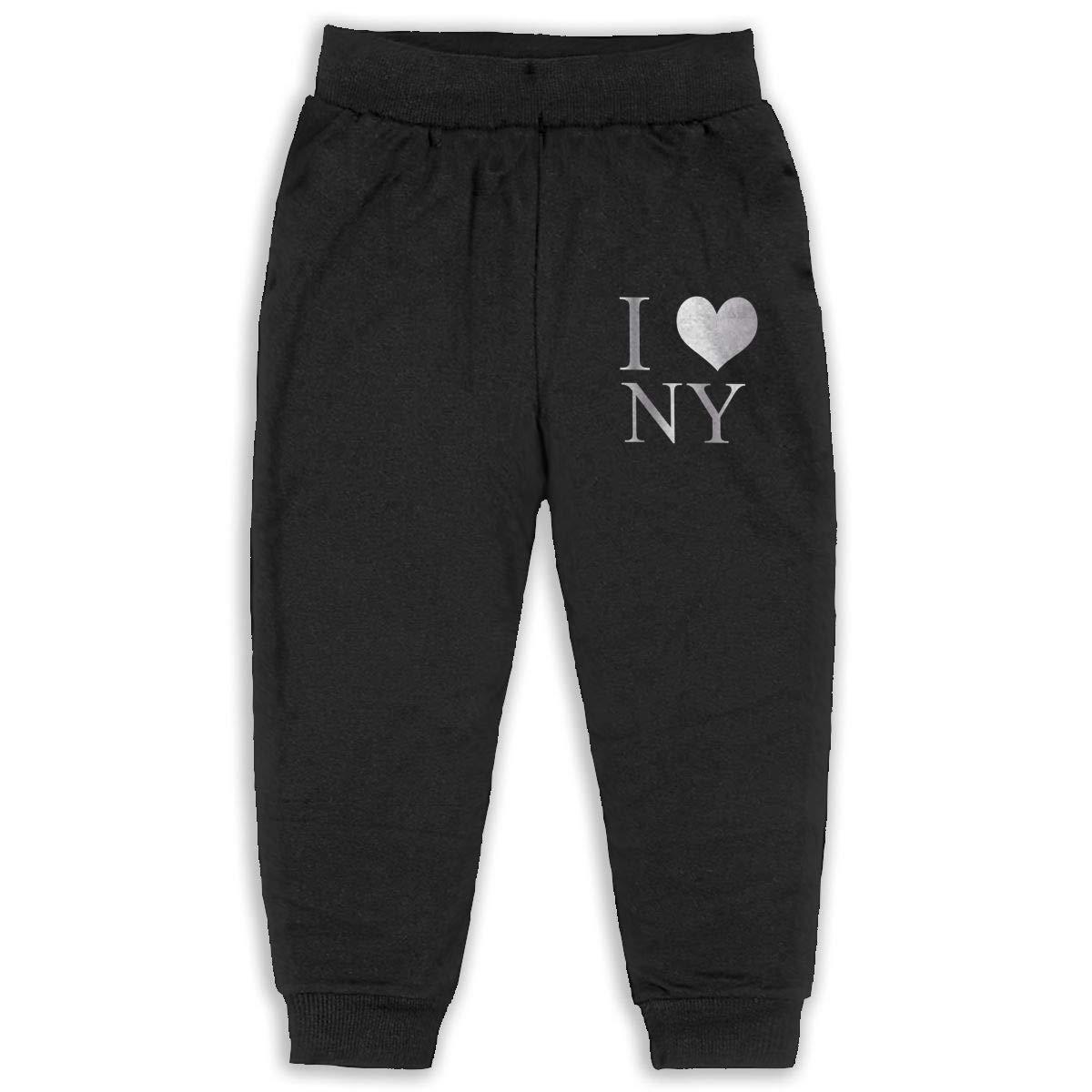 Sweatpants Love New York Pattern Cotton Toddler Active Jogger Full-Length Regular Size Pants Kids