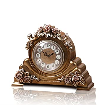 LANNA SHOP Retro Mantel Mantle Rhythm Quartz Clock Living Room Desk Shelf Clocks Decoration