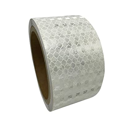 """PerfecTech 2\""""x 118\"""" Reflective Pure Color Aveolate HoneyComb Prismatic Pattern Conspicuity Hazard Safety Warning Caution Tape Film (White): Automotive [5Bkhe1507877]"""