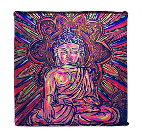 Applique Mural - Trippy Buddha Mural Yuya Negishi YUYART - Iron on 4x4 inch Embroidered Edge Patch Applique