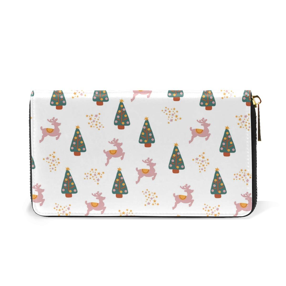 Flock Christmas Tree Real Leather Zip Around Wallet Wristlet minimalist wallet Travel Purse Wristlet