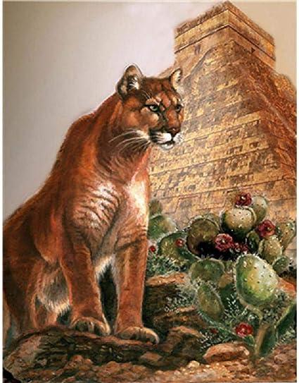 dos jaula sentido  GAGALAM Pintura por Numeros para Adultos Puma Y Pirámide Sala De Estar  Dormitorio Decoración De La Pared Pintura 60x75cm: Amazon.es: Hogar