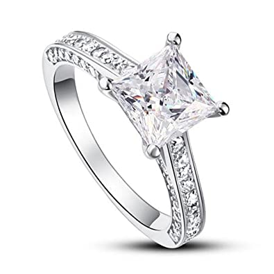84aa5b0e3 Exquisite Selebrity 1.5 Carat Princess Cut Created Diamond 925 Sterling  Silver Wedding Engagement Ring 8009 (