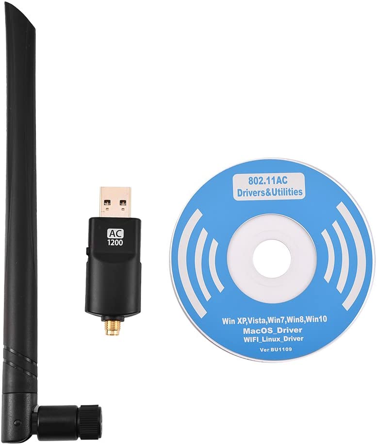 1200Mbps 5dBi Dual Band Antenna USB Wireless Network Adapter Dual Band USB 3.0 WiFi Dongle 802.11AC Wireless Network Adapter with Antenna