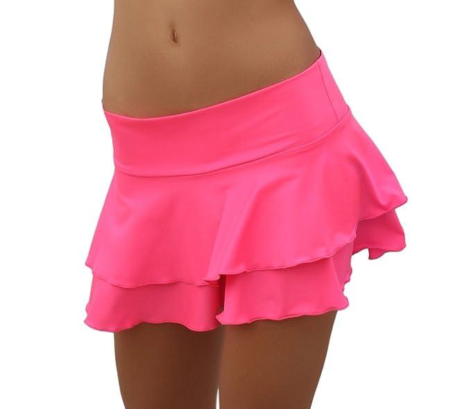 Faldas neón corta con volantes rosas