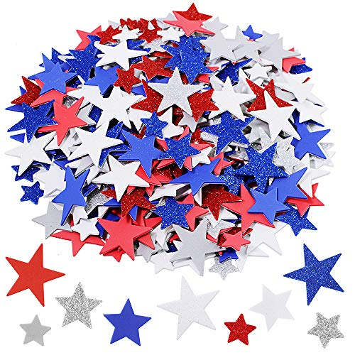 Assorted Patriotic Star Stickers Bulk 392 Pcs 3 Sizes Glitter & Matte Red Blue Silver White Grey Star Foam Stickers Self Adhesive Patriotic Star Shapes Cutouts 1