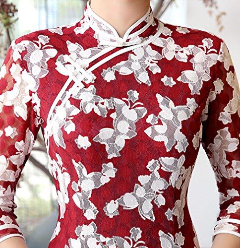 Robe Fleur Rouge Longue Qipao Acvip Manche Avec Soirée Imprimé 3 Cheongsam 4 Et Elégant Blanc Femme Pour De ZwIfq47