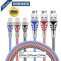 Lightning Cable[Apple MFI Certified], SDBAUX 3Pack (Black,Red,Blue) 3FT(1M) TPE+Nylon Braided 8 Pin Charging Cable Cord Lightning To USB Cable Charger Compatible With iPhone X/8/7/6/5/SE,iPad, iPord