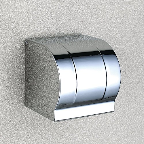 TEN-HIGH Stainless Steel Simple Square Toilet Paper Holder with Cover, (Steel Toilet Paper Holder Cover)