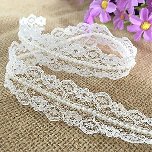 OZXCHIXU(TM) 10M 20mm Vintage Style Lace Pearl Ribbon Trim Bridal Wedding (Ivory)