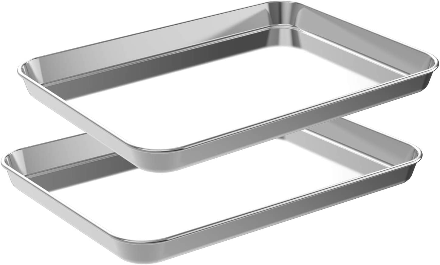 CEKEE Quarter Baking Sheet Set,2 Pans Stainless Steel Professional Kitchen Cooking Non-Stick Bake Pan for Cookie Muffin Cake Pizza Toaster Food Oven Trays(9 Inch)