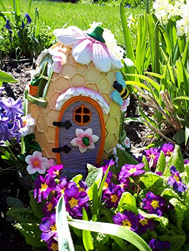 Mystic Garden Solar Resin Fairy Garden House  Beehive Design  Lights up at  Night
