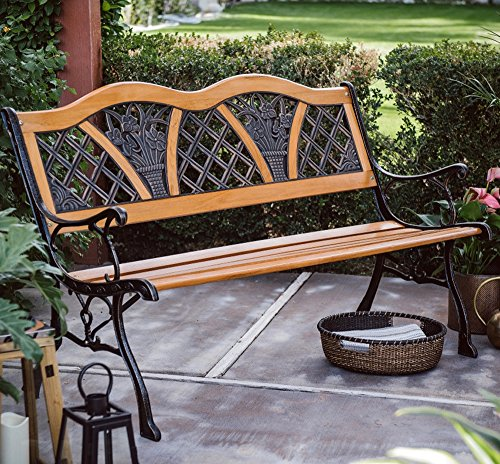 Outdoor Garden Bench Wood and Metal Furniture Deck Seat w/ Flower Pattern on Back Ideal for Backyard, Porch or (Yard Wood)
