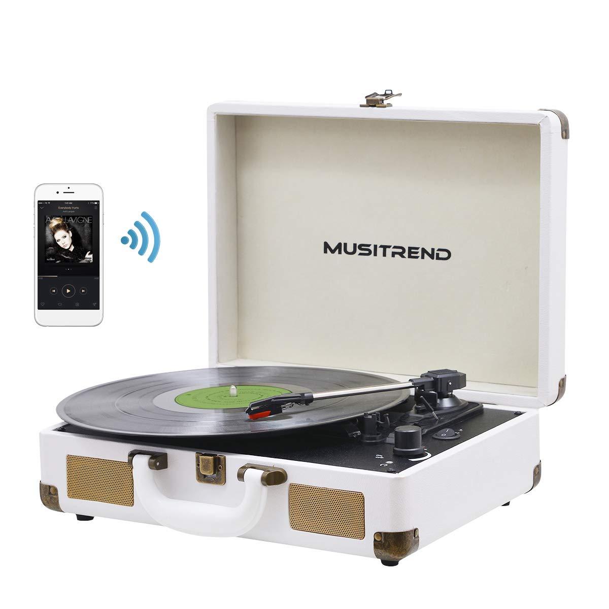MUSITREND Platine Vinyle Tourne-Disques Valise Portable avec 2 Haut Parleurs IntéGréS, Blanc product image