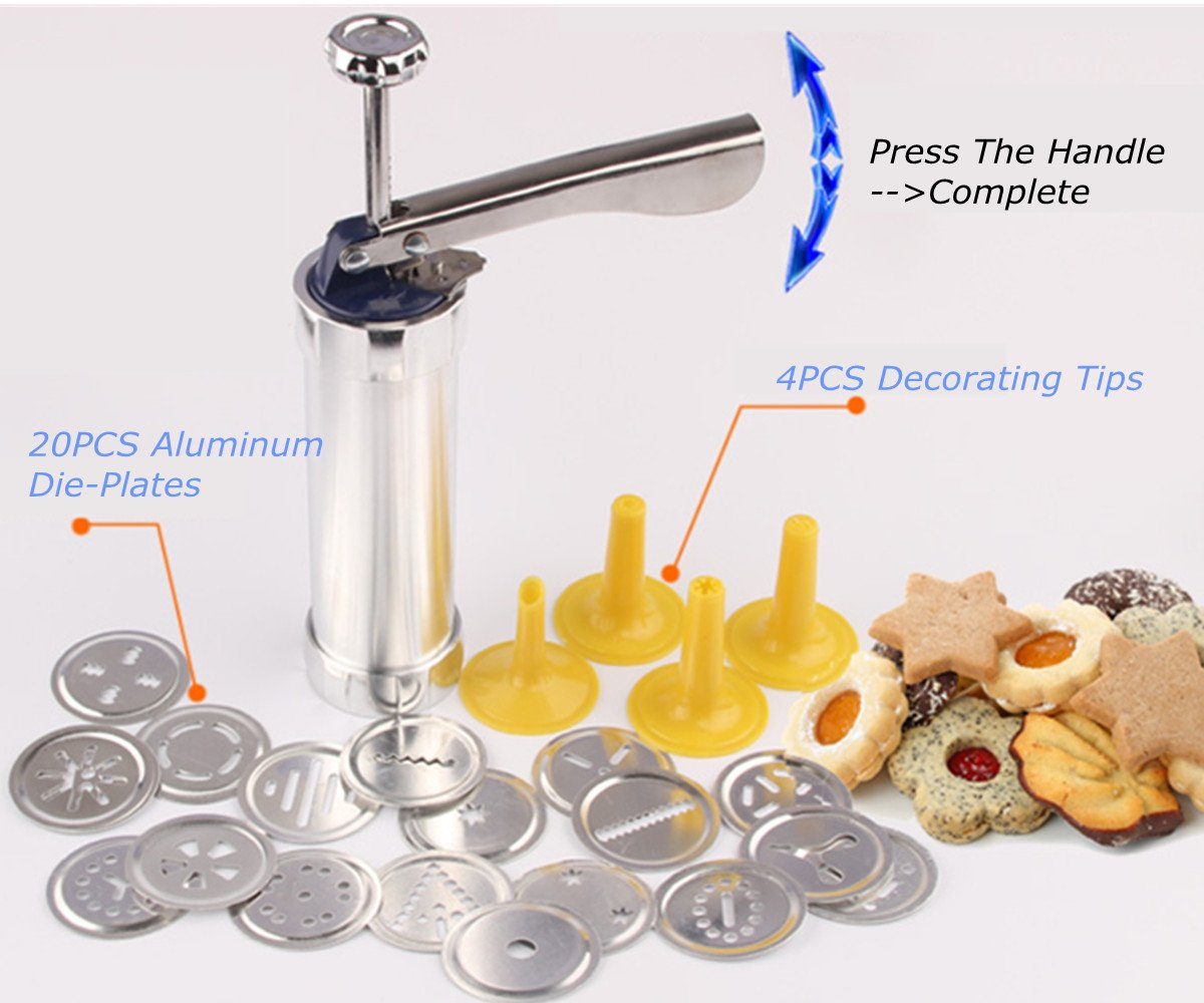 FCOZM Stainless Steel Biscuit Cookie Press Tools Kit with 20Pcs Cookie Disc Shapes and 4Pcs Decorating Tips