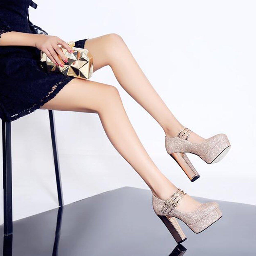 YIXINY Pumps Kleid Damenschuhe High Heels Gold Wasserdichte Plattform Gold Heels Braut Hochzeitsschuhe Runder Kopf Dicker Absatz ( größe : EU37/UK4.5-5/CN37 ) - 987ebf