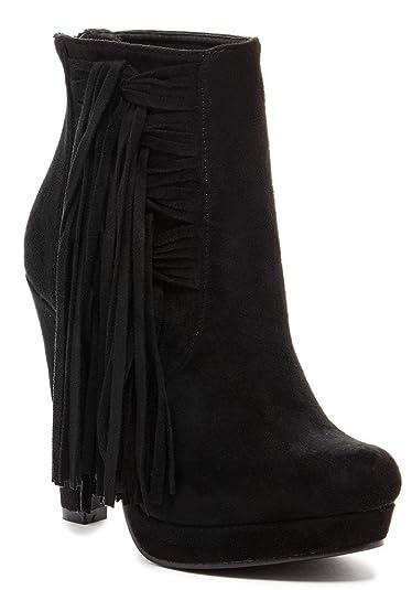 Solinie Womens Fashion Fringe Stiletto Booties