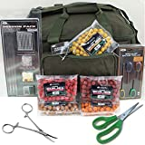 NGT Green Carryall Fishing Tackle Bag Hook Hair Rig Bait Tools Boilies Set + Green Scissors + Forceps