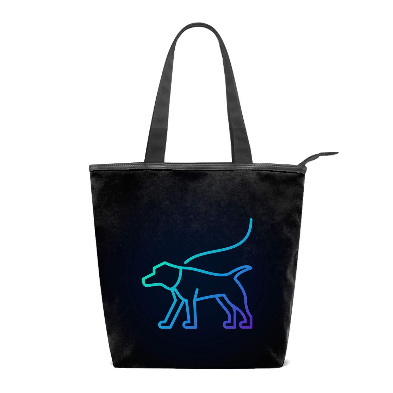 Blue Dog On A Leash Icon Printing Canvas Shoulder Bag Retro Casual Handbags Messenger Bags