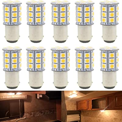JAVR - Pack of 10 - Warm White 3000K 1142 BA15D LED Bulbs 5050 27-SMD Replacement Lamps for 12V Interior RV Camper Trailer Lighting Boat Yard Light Brake Tail Bulbs: Automotive