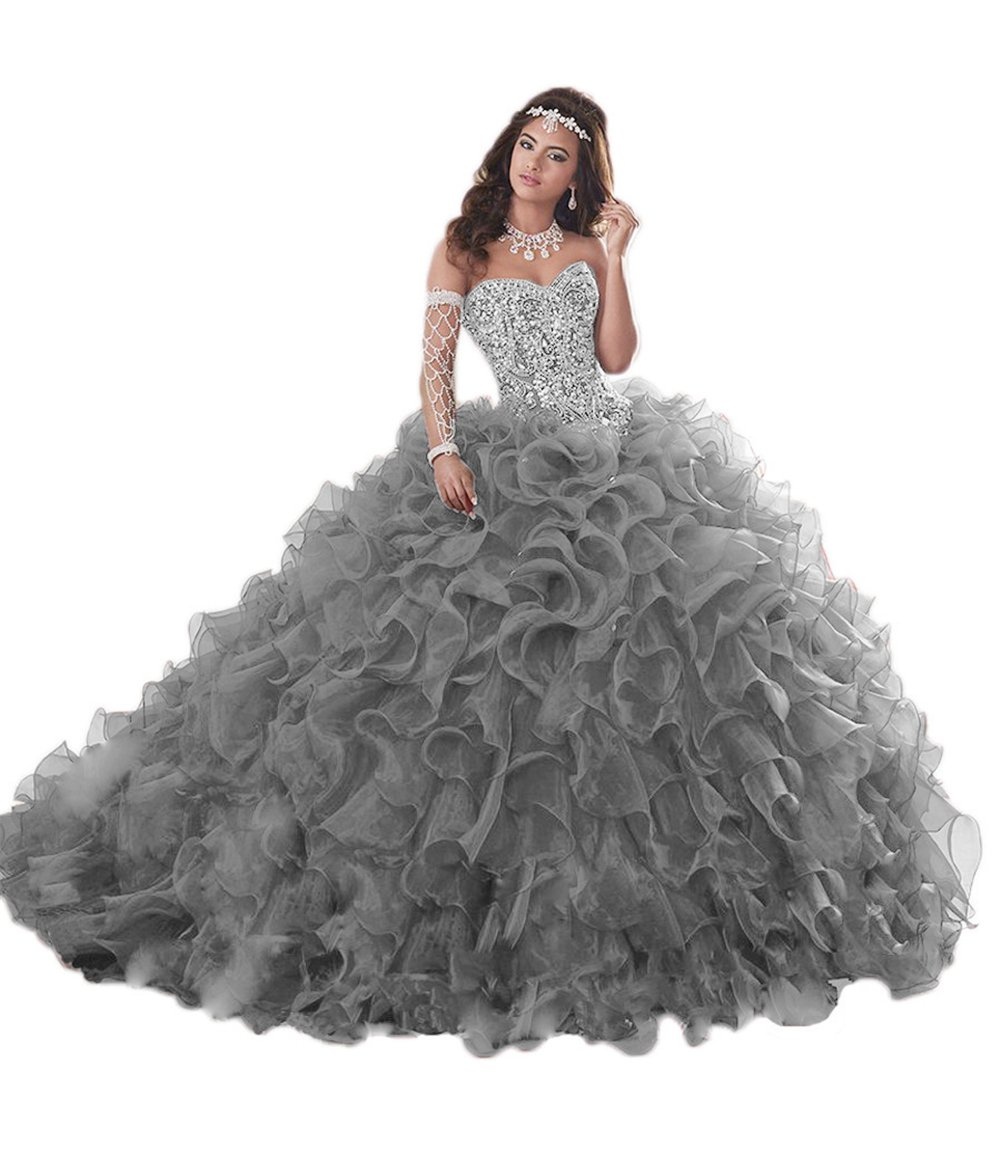 61f4e8394888 APXPF Women's Heavy Beaded Organza Ruffle Quinceanera Dresses for Sweet 16 Prom  Ball Gowns Grey US4