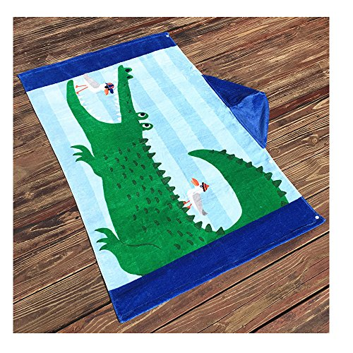 AteAte Cute Cartoon Baby Kid's Hooded Bath Towel Toddler Boy Girls Beach Towel New 100% Cotton 400 GSM(Crocodile) by AteAte (Image #2)