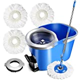Spin Mop & Foot Pedal Bucket with 3 Microfiber Heads and 1 Floor Brush 8L Mop with Bucket for Floor Cleaning Masthome