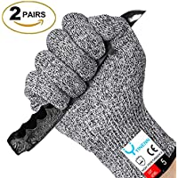 2-Pairs Yinenn Cut Resistant Food Grade Safety Gloves with Hand Protection (Medium)