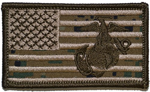 Backpack Patch Camo (Superimposed Marine Corps EGA / USA Flag 2x3.5 Military Patch / Morale Patch (Woodland Digital)