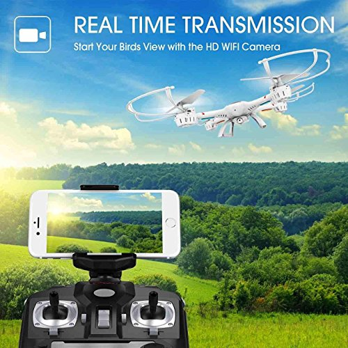 DBPOWER-X400W-FPV-RC-Quadcopter-Drone-with-WiFi-Camera-Live-Video-One-Key-Return-Function-Headless-Mode-24GHz-4-Chanel-6-Axis-Gyro-RTF-Compatible-with-3D-VR-Headset