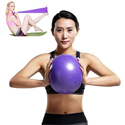 Ballon fitness & Bandes Musculation,MISSDU Renforcement des muscles abdominaux massage partiel peut être utilisé pour l'entraînement physique, Pilates, yoga, gymnastique, dos, entraîneur coeur /Bl
