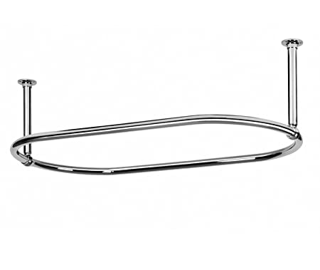 Oval Chrome Plated Shower Curtain Rail With Ceiling Stays