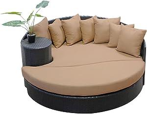 TK Classics Wheat Newport Circular Sun Bed Outdoor Wicker Patio Furniture