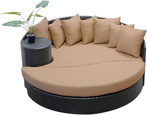 TK Classics Newport Newport Circular Sun Bed-Outdoor Wicker Patio Furniture, Wheat