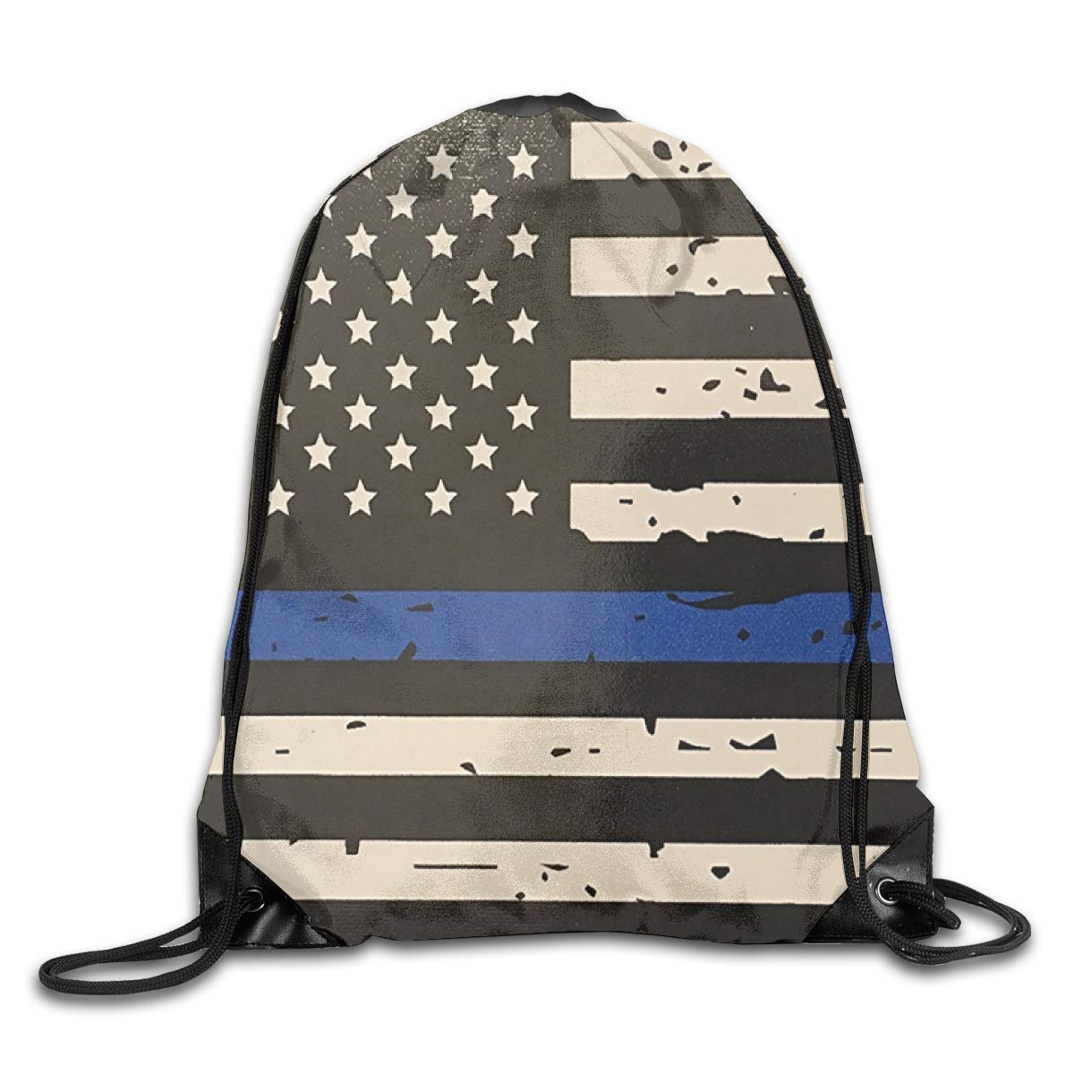 Flag Of The United States Beam Mouth Backpack Pull Rope Shoulder Bag Outdoor Sports Leisure Bag