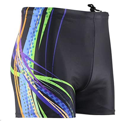 122bea9b4a90a Panegy Men's Splice Jammer Compression Square Leg Swimsuit Solid Briefs  Size L - Black Printed
