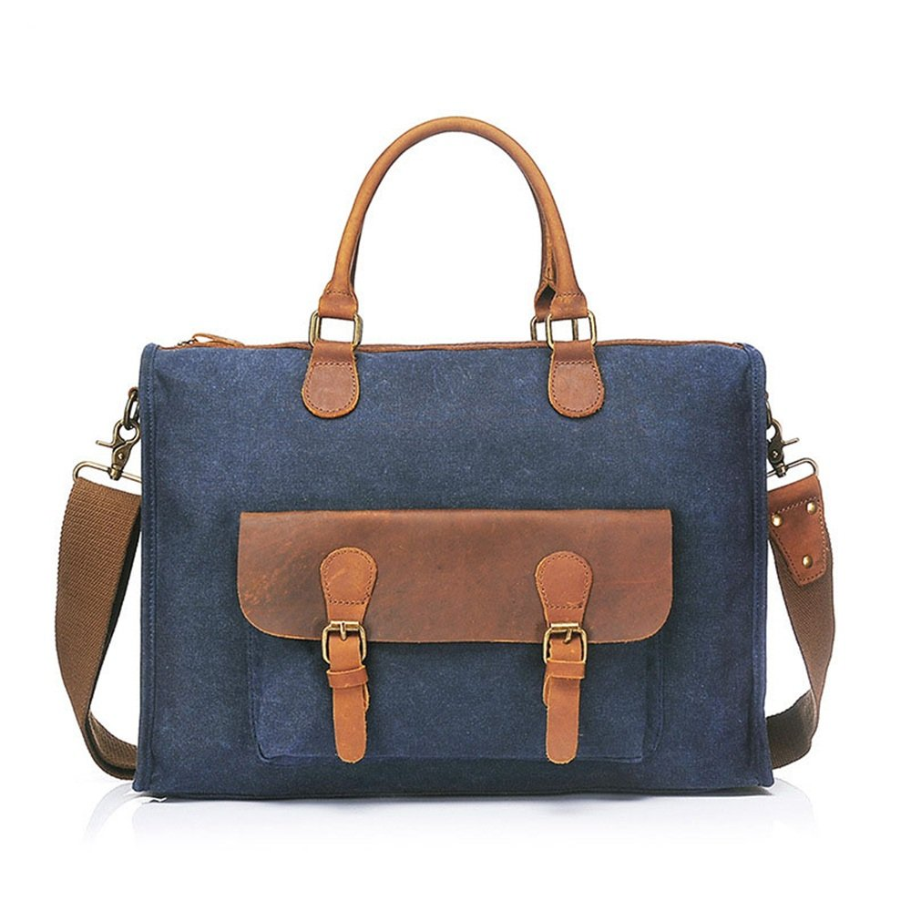 XUROM Briefcase Bag Men's Briefcase Vintage Leather Laptop Bag Canvas Messenger Bag School Satchel Work Bag Canvas Laptop Bag Messenger Bag