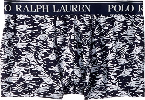 Cotton Jersey Boxers - Polo Ralph Lauren Men's 3/20 Cotton Stretch Jersey Pouch Boxer Brief Cruise Navy Shark Print Medium