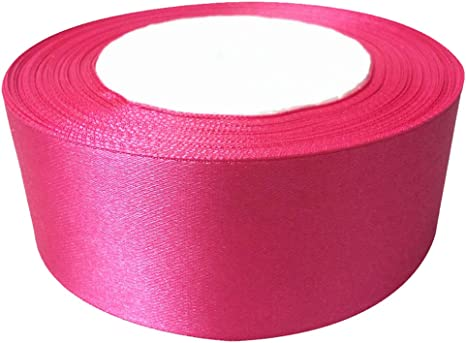 Fabric ribbon satin 40mm full 25m roll Cerise Pink