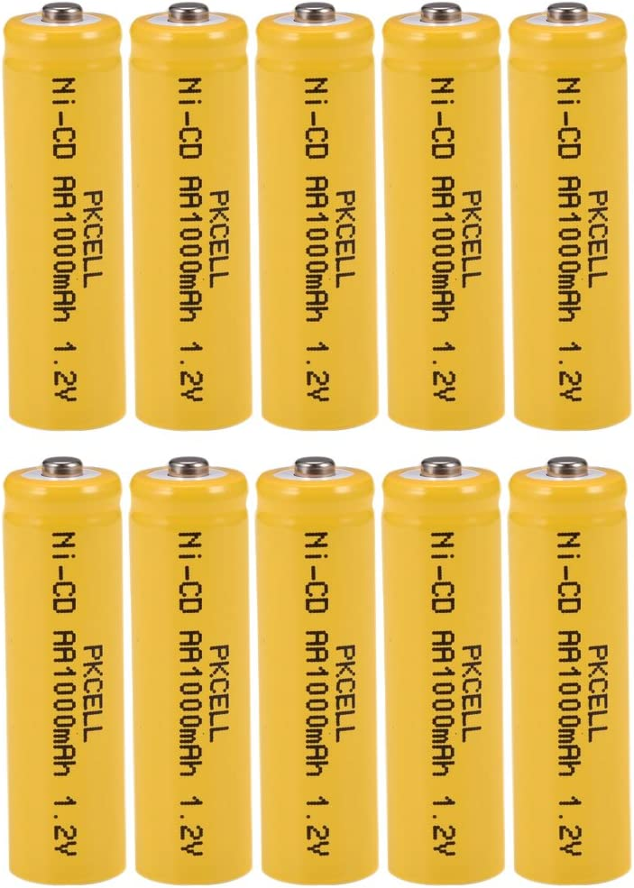 AA NiCd 1.2V 1000mAh Rechargeable Batteries for Garden Landscaping Solar Lights 10Pack