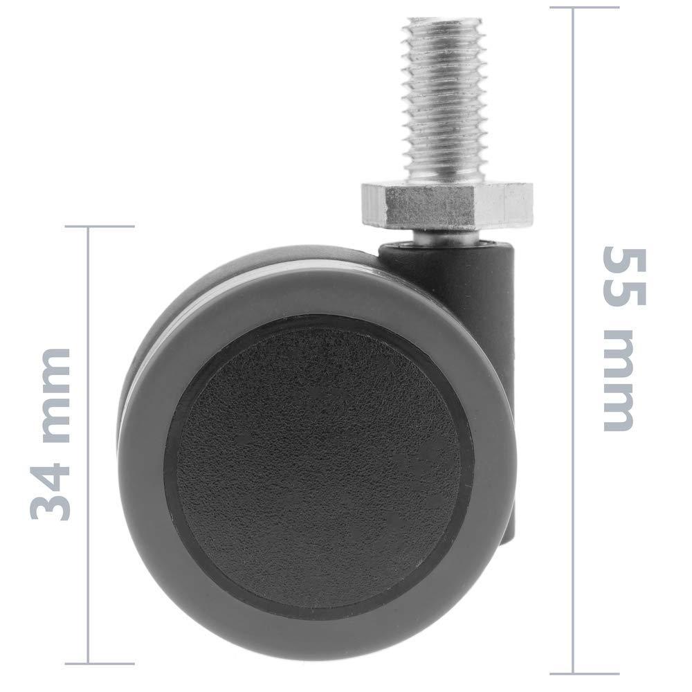 roulettes pivotantes Roue en Nylon et PVC sans Frein 34 mm M8 5 Pack PrimeMatik