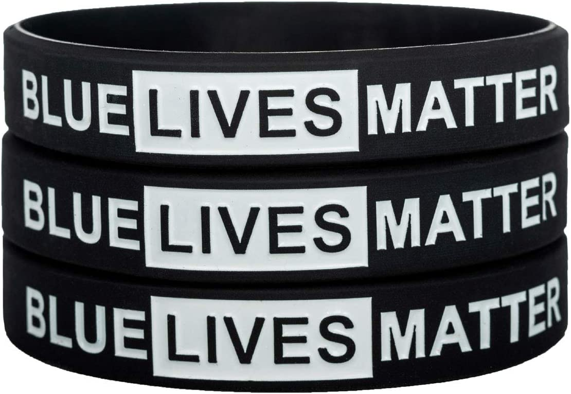 Sainstone Blue Lives Matter Thin Blue Line Silicone Bracelets with American Pride Bald Eagle Support Law Enforcement Rubber Wristbands Gifts for Police Cops for Men Women