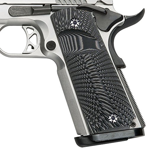 Cool Hand 1911 Full Size G10 Grips, Big Scoop, Ambi Safety Cut, Sunburst Texture, Gun Metal Color