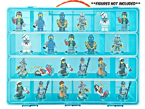 Video Game Mini Figure Organizer- Fits 30 Lego Dimensions TM Figures- Large Case and Carrying (Blue Ninja Turtle Name)